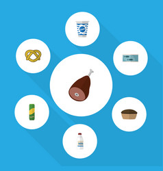 Flat icon meal set of bottle spaghetti tart and vector