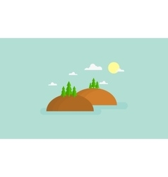 flat of cute hills vector image vector image