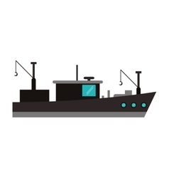 Isolated fishing boat ship design vector image