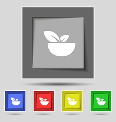 Organic food icon sign on original five colored vector image