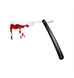 razor in black and silver design with bloody blade vector image
