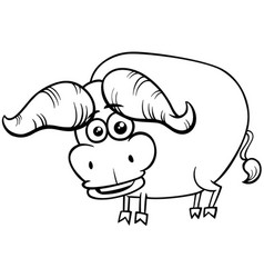 african buffalo animal character coloring book vector image