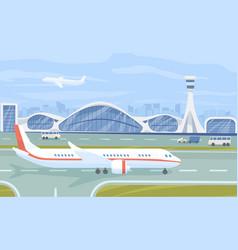 Airport terminal flat vector