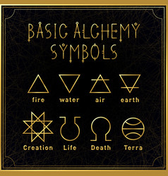 alchemical golden basic symbols set on dark vector image