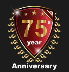 Anniversary 75th label with ribbon vector