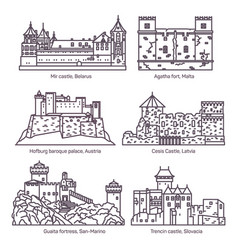 Architecture castle and fort buildings medieval vector