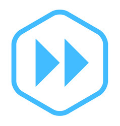 arrow sign fast forward linear hexagon icon vector image