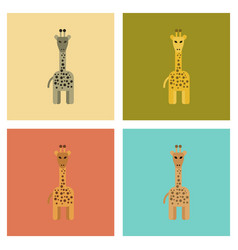 Assembly flat icons nature cartoon giraffe vector