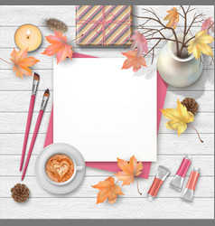 autumn top view background vector image