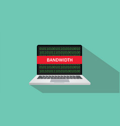 Bandwidth concept sign with laptop and text on vector