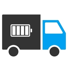 Battery Delivery Truck Flat Icon vector image
