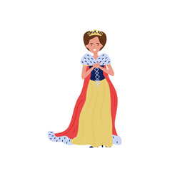 Beautiful queen in red ermine mantle fairytale or vector