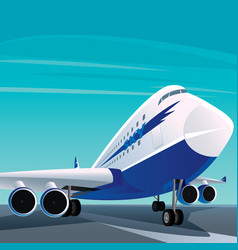 Big modern passenger plane on the runway vector