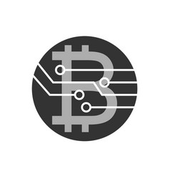 bitcoin icon for crypto currency virtual currency vector image