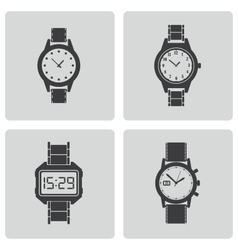 Black wristwatch icons set vector