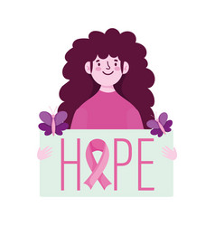 breast cancer awareness young woman hope placard vector image