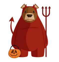 brown bear in red devil halloween costume vector image