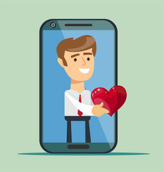 Businessman giving a red heart to a customer on vector