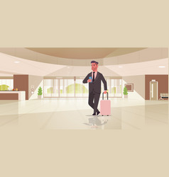 Businessman with luggage modern reception area vector
