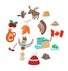 canada icons cartoon vector image