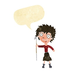 Cartoon crazy woman with spear with speech bubble vector