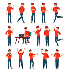 cartoon male teenager character teenage boy in vector image