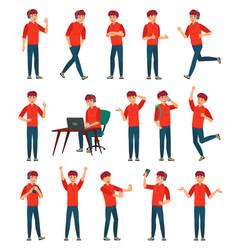 Cartoon male teenager character teenage boy vector