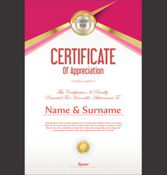 Certificate retro design template 01 vector