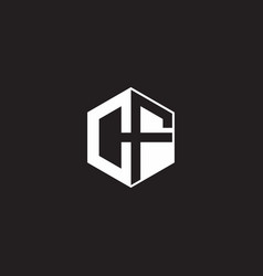 Cf logo monogram hexagon with black background vector