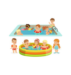 children swimming in pool vector image