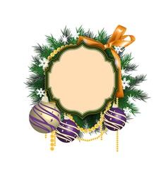 Christmas wreath and balls vector image