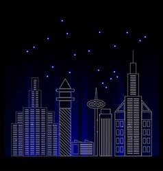 City skyline detailed silhouette Trendy line art vector image