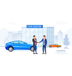 client shaking car dealers hand vector image