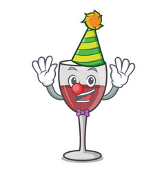 Clown wine mascot cartoon style vector