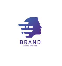 Creative man head logo brain vector