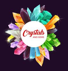 Crystals and gems frame quartz diamond amethyst vector