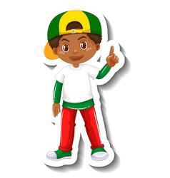 Cute african boy cartoon character sticker vector
