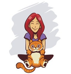 cute girl and cute cat vector image