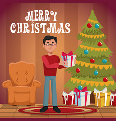 Dad in christmas cartoon vector