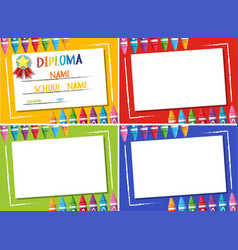 Diploma and four different color background with vector