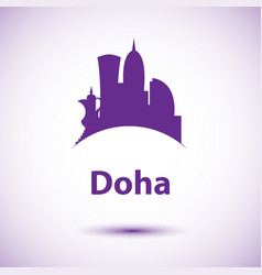 doha corniche - the symbol of qatar city vector image