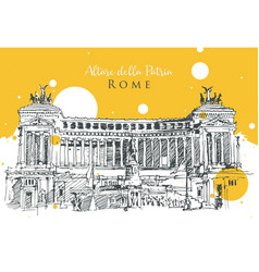 drawing sketch altar fatherland in rome vector image