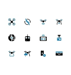 Drone with camera duotone icons on white vector image