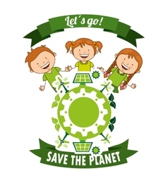 ecological kids vector image