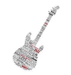 electric guitar shape composed music text vector image