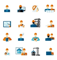 Engineer Icons Flat vector image