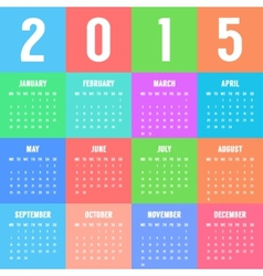 european colorful calendar of 2015 year vector image