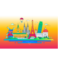 european landmarks flat design composition vector image