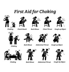 First aid emergency treatment for choking stick vector