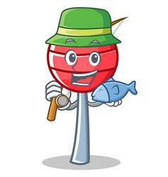 Fishing sweet lollipop character cartoon vector